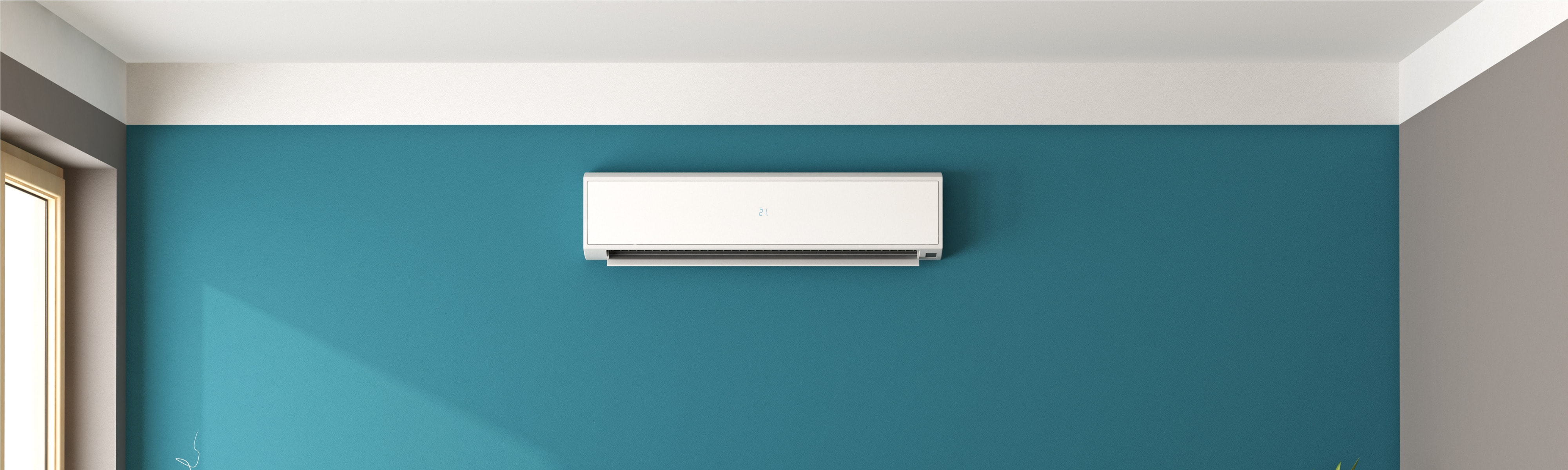 A ductless HVAC unit mounted on the wall.