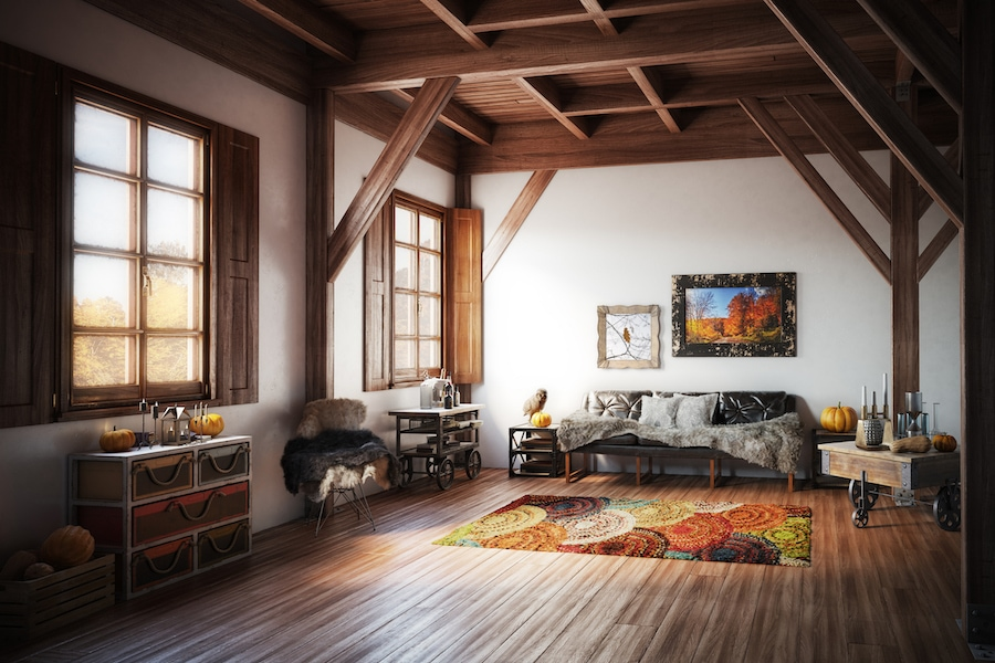 Cozy fall living room telling you why it's important to schedule a fall furnace clean and check